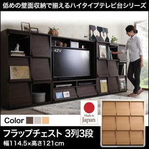 低めで揃える壁面収納ハイタイプテレビ台シリーズ Flip side フリップサイド フラップチェスト 3列3段日本製 フラップチェスト ディスプレイラック ラック 本棚 木製 扉 収納 本