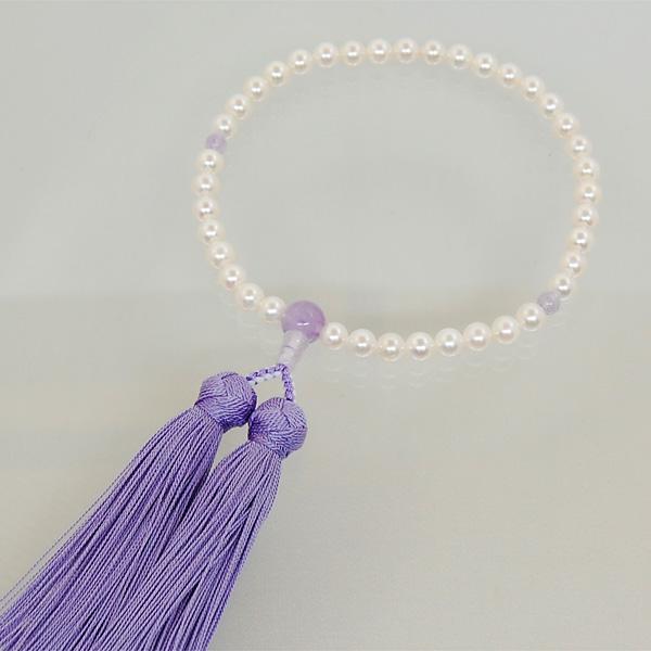 数珠 女性用 本真珠 藤雲石 入り 数珠袋 付 送料無料 真珠 念珠 お参り 法要