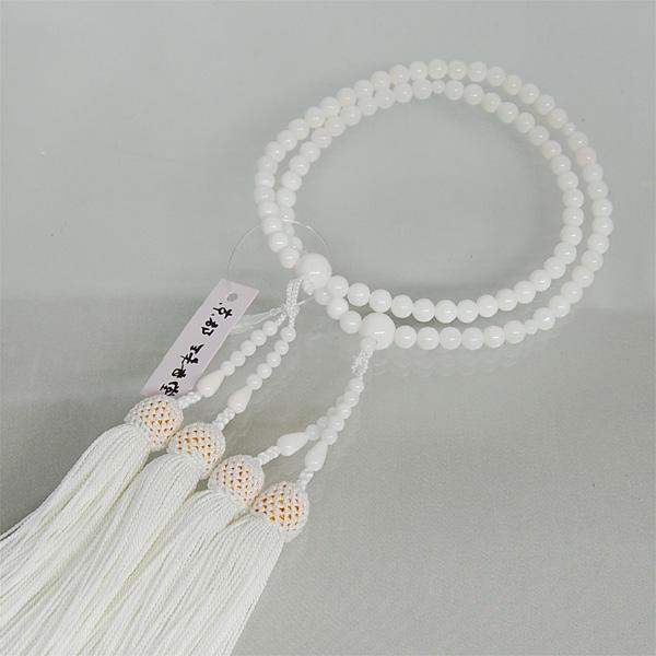 数珠 女性用 白珊瑚6ミリ玉 二連 正絹頭房 【数珠袋プレゼント】【本式用念珠】 【サンゴ】 【パワーストーン】 【送料無料】