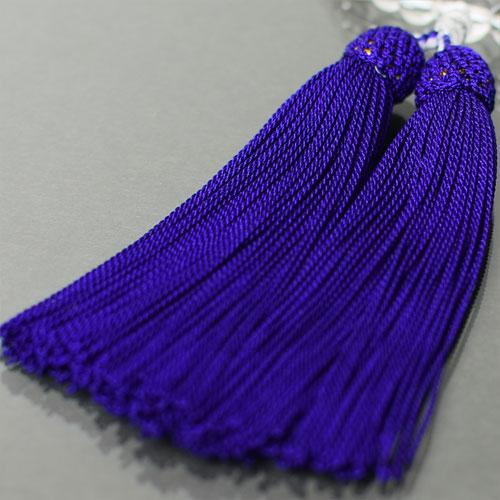 Rosary ladies quartz crystal Amethyst 2 heaven, 7 mm beads purple pure silk head tufting Rosary bag