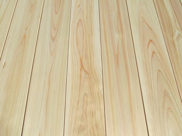 【大型宅配便のため送料無料適用対象外】高級吉野桧無垢フローリング無節 無塗装1900×15×110ミリ 8枚入