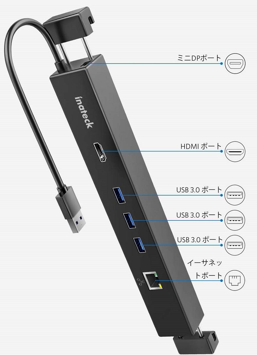 【全品日本全国送料無料】【1年保証】Inateck USB 3.0 ハブ、3ポートUSB-A 3.0、HDMI 4K Ultra HD (Mini DP-HDMIアダプタ)、有線LANアダプタ、Microsoft Surface ドッキングステーションSurface Pro 4/Surface Pro 3/Surface 3/TheNew Surface Proに対応、5V2A電源アダプター