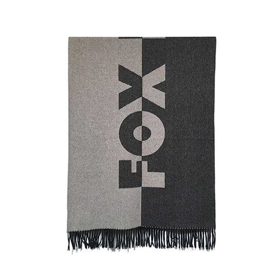 【SALE 30%OFF】 【MAISON KITSUNE マフラー】MAISON KITSUNE メゾン キツネ / FOX HEAD WOOL SCARF (black×gray) [KITSUNE-KUN89570]