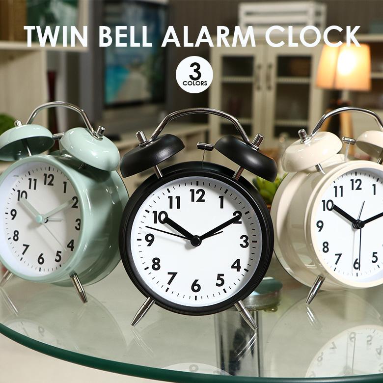目覚まし アラーム おしゃれ シンプル レトロ かわいい ベル 送料無料_a アラームクロック ツインベル スイープムーブメント アイボリー ギフト ブラック ペールブルー 人気急上昇 目覚まし時計