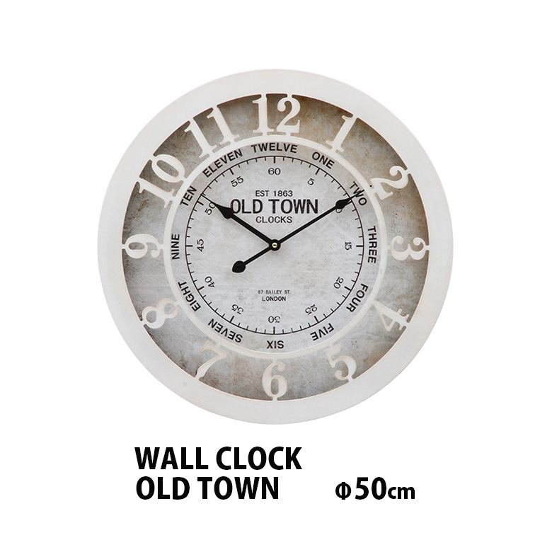 日本正規品 掛時計 掛け時計 インテリア おしゃれ アンティーク アイアン 激安通販専門店 送料無料b OLD モノトーン TOWN ウォールクロック