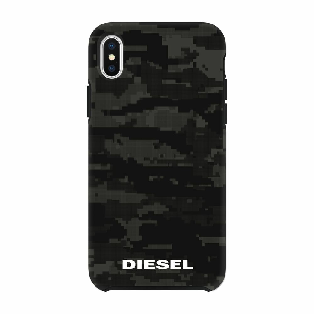 DIESEL ディーゼル Printed Co-Mold Soft Touch Pixelated Case Camo Black for iPhone XS Max