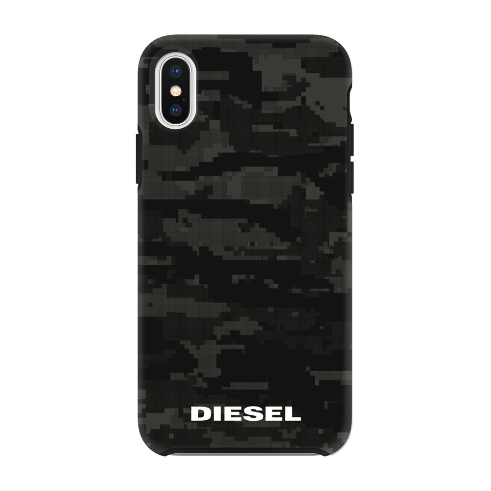 DIESEL ディーゼル Printed Co-Mold Soft Touch Pixelated Case Camo Black for iPhone XS