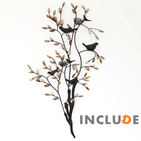 アイアンウォールアートパネル アートパネル ウォールアート 壁掛け 壁飾り 鳥 バード 小鳥 鳥の巣 アイアン モダンテイスト リーフ 植物 アートフレーム レトロ アンティーク インテリア リビング 玄関 アイアンの壁飾り