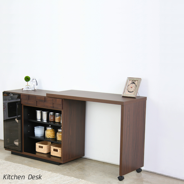 キッチン カウンター デスク 90 完成品 キッチン収納 収納棚 回転デスク 開き戸 引き出し 北欧 おしゃれ モダン シンプル 木製