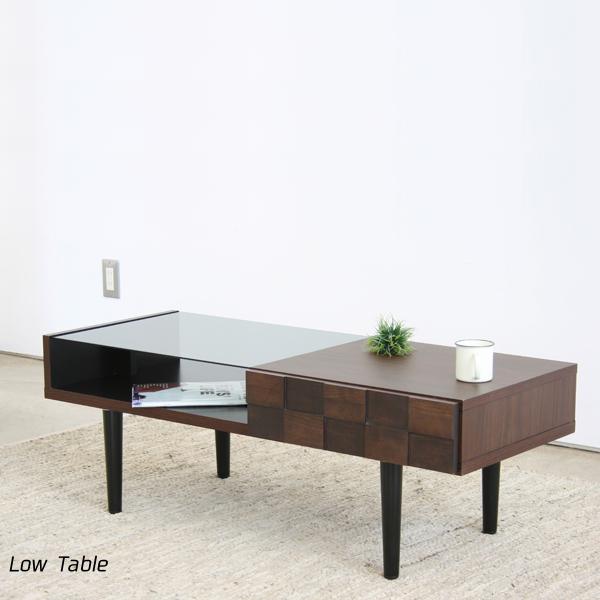 ローテーブル 幅110 完成品 強化ガラス テーブル センターテーブル リビンブテーブル 引出 北欧 おしゃれ モダン シンプル