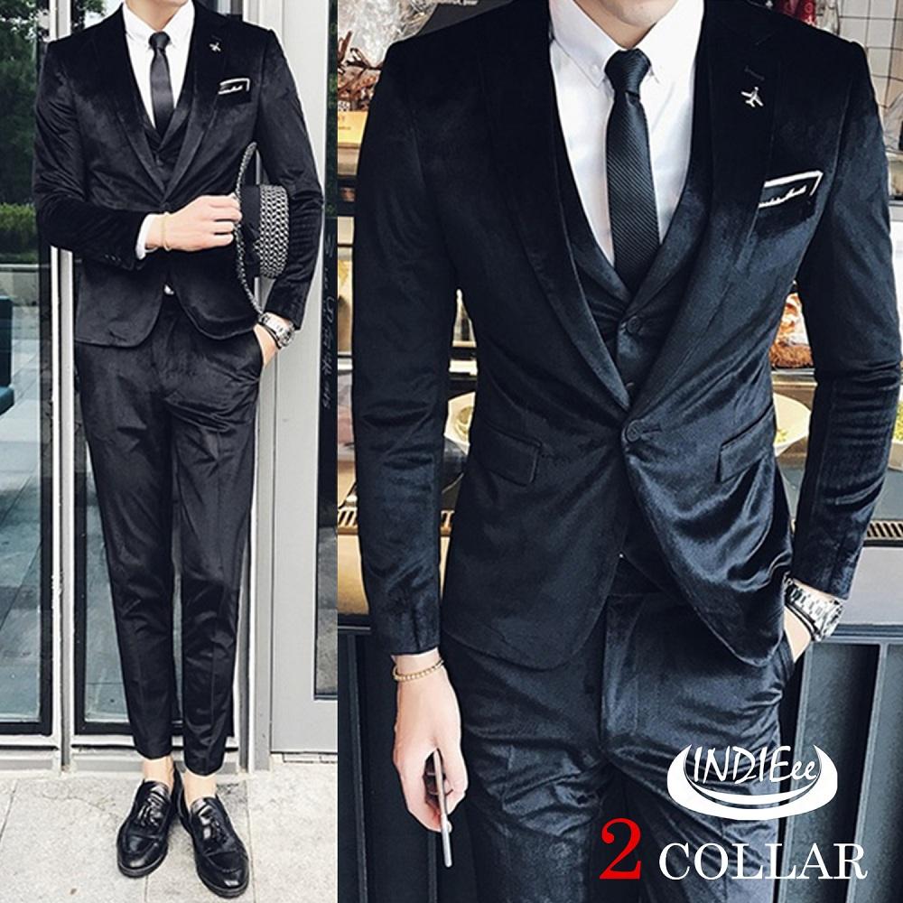 ベロア シングルボタン スーツ メンズ 3P セットアップ スーツ 上下セット 結婚式 衣装 タキシード 男 ファッション 大人 二次会 パーティー [インポート]