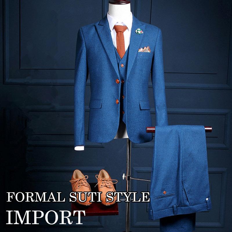 695e825ccd98e ブルー系 スーツ スリーピースセットアップ ブルー系 スーツ メンズ 3P スリーピース セットアップ スーツ 上下セット 結婚