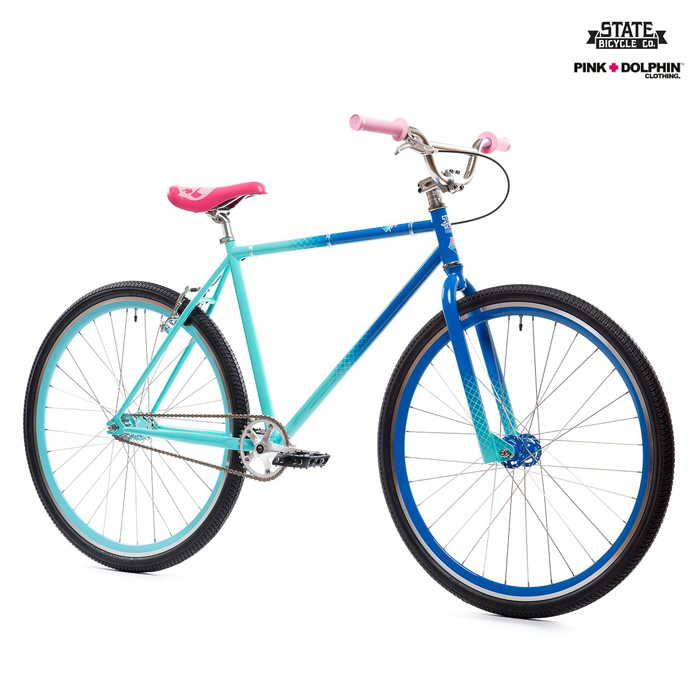 STATE BICYCLE X PINK DOLPHIN BIKE【MULTI】(M・L)(通販 自転車 FIXED GEAR FREE STYLE FGFS ピンクドルフィン ステイトバイシクル)