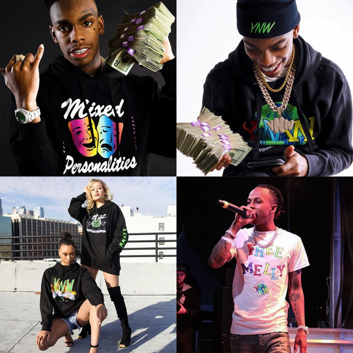 YNW APPAREL T-shirt (M L, XL) (mail order men's big size short sleeves  short sleeve YOUNG NEW WAVE YNW MELLY HIPHOP hip-hop)