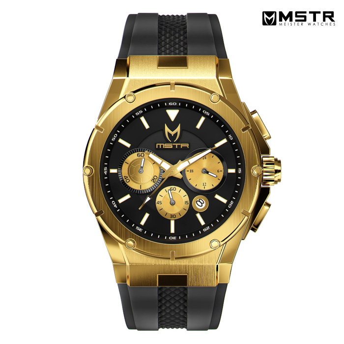 MSTR WATCHES MK3【GOLD / BLACK / RUBBER BAND】【AM254RB】(MEISTER MSTR WATCHES 通販 メンズ 腕時計 ブラック 黒 ラバーンド ウォッチ)