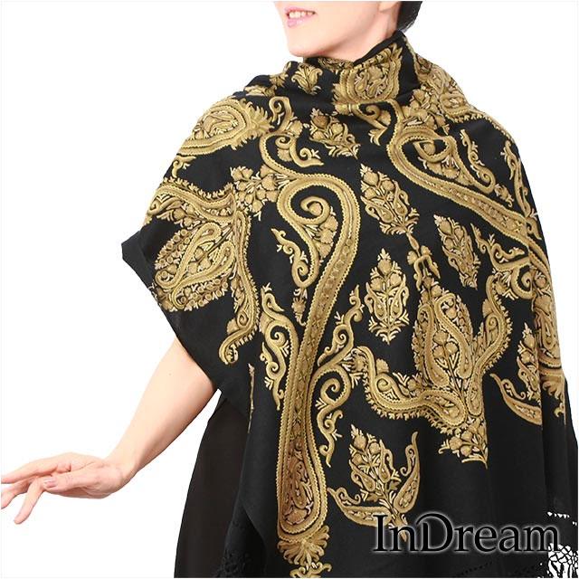 アーリ刺繍ストール 黒(ブラック)09 結婚式やパーティー フォーマル メリノウール ギフト 旅行 レディース 送料無料 インド