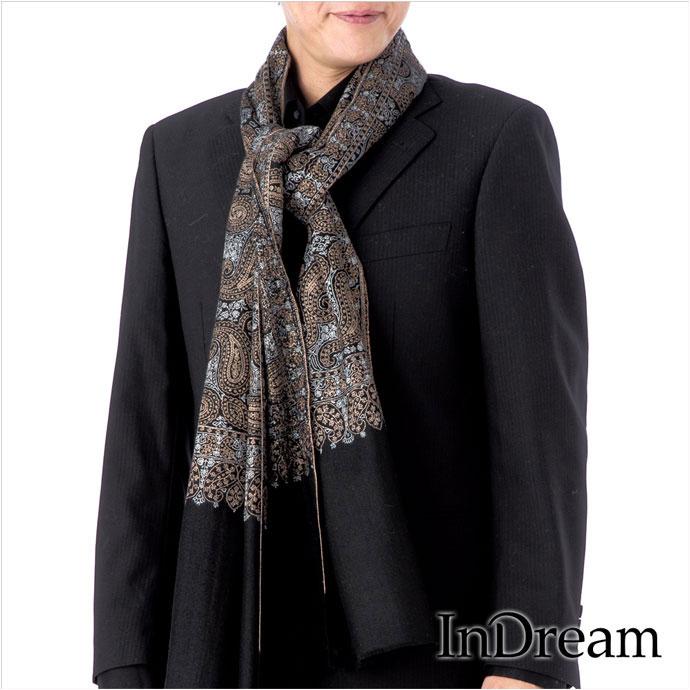 メンズ ストール パシュミナ 刺繍 ショール[100cm巾] 黒(ブラック)02 ストール 大判 ショール 結婚式 ペイズリー パーティー ストール カシミヤ 100% 送料無料 stole paisley shawl pashmina