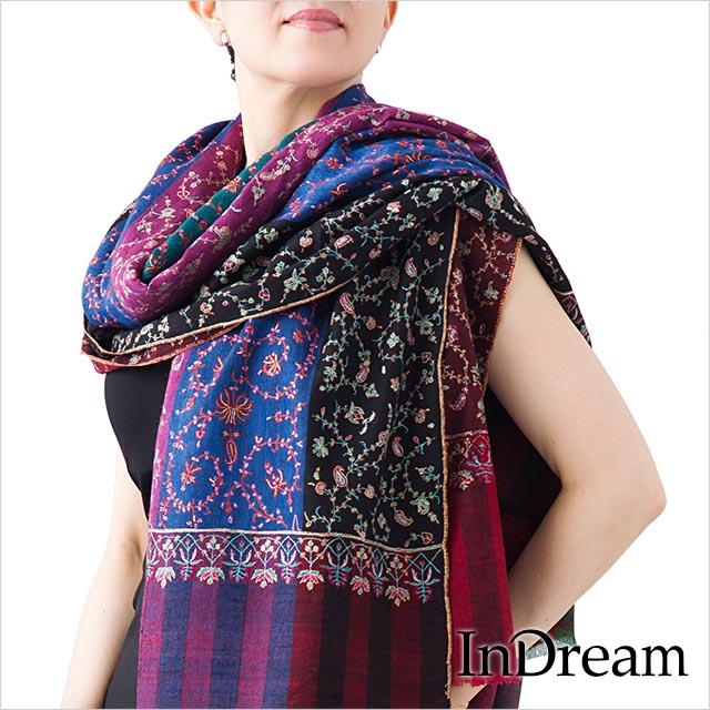 パシュミナ 刺繍 ショール [100cm巾] ミックス01 ストール 大判 ショール 結婚式 ペイズリー パーティー ストール カシミヤ 100% 送料無料 stole paisley shawl pashmina