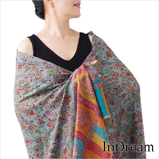 パシュミナ刺繍ショール [100cm巾] 青(ブルー)01 インド ストール カシミールショール 着物ショール 結婚式やパーティー フォーマル ギフト レディース 送料無料