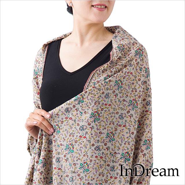 パシュミナ刺繍ショール [100cm巾] ベージュ05 インド ストール カシミールショール 着物ショール 結婚式やパーティー フォーマル ギフト レディース 送料無料