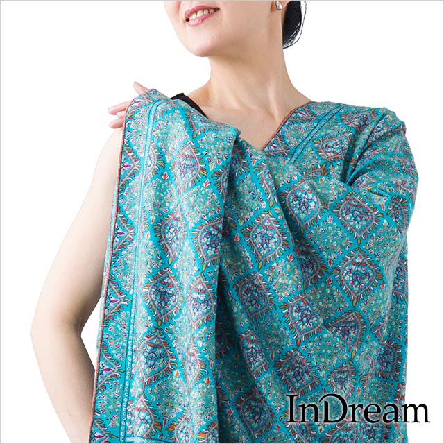 パシュミナ刺繍ショール [100cm巾] 青(ブルー)02 インド ストール カシミールショール 着物ショール 結婚式やパーティー フォーマル ギフト レディース 送料無料