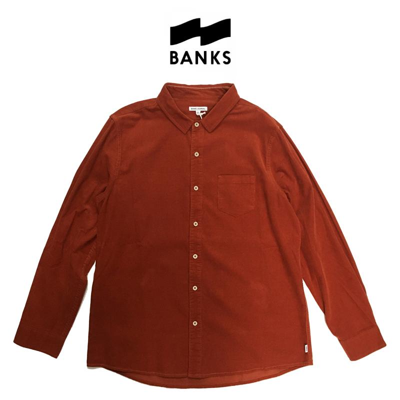 BANKS バンクス ROY L/S SHIRT メンズ シャツ 長袖 コーデュロイ RUST Lサイズ