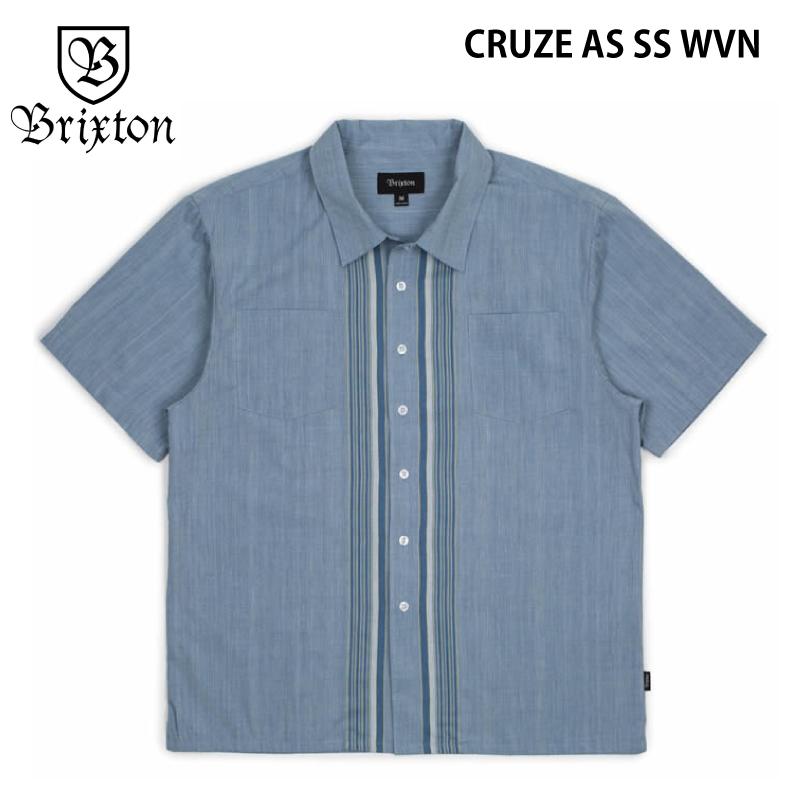 BRIXTON ブリクストン CRUZE AS SS WVN 半袖シャツ シャツ スケートボード スケボー アパレル メンズ LIGHT BLUE ライトブルー Sサイズ USサイズ