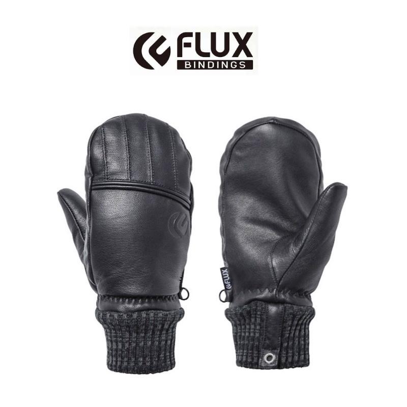 FLUX フラックス TECH GLOVE グローブ メンズ レディース 19-20 スキー スノーボード 手袋 天然皮革 レザー ミトン Black Lサイズ