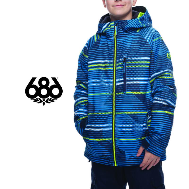 686 SIX EIGHT SIX シックスエイトシックス BOYS Jinx Insulated Jacket キッズ 子供 18-19 スキー スノーボード ジャケット Bluebird Stripes Sサイズ