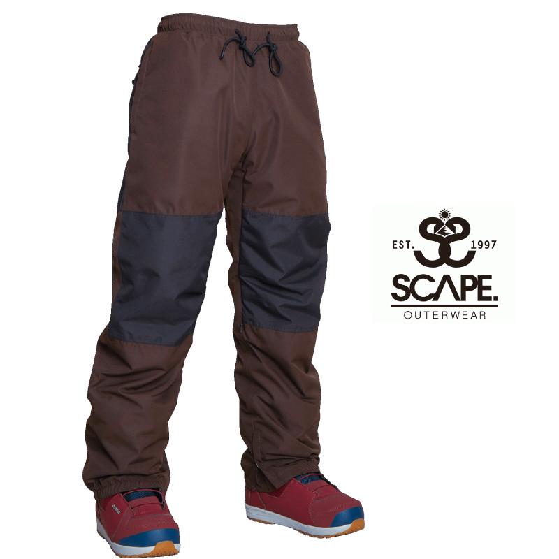 SCAPE エスケープ TRACK PANTS 膝切り替え トラック パンツ 20-21 スキー スノーボード ウェア パンツ ジョガー DARK BROWN/BLACK Mサイズ
