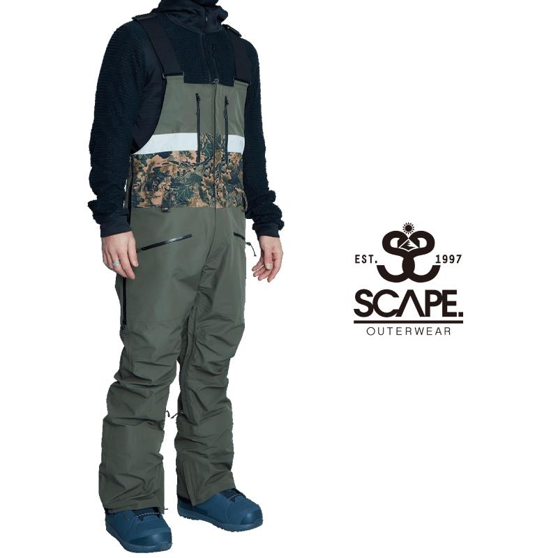 10%OFF 売り出し 送料無料 あす楽 即発送 正規品 SCAPE エスケープ BIB PANTS メンズ ビブ OLIVE Mサイズ 人気 パンツ スノーボード ウェア スキー 21-22