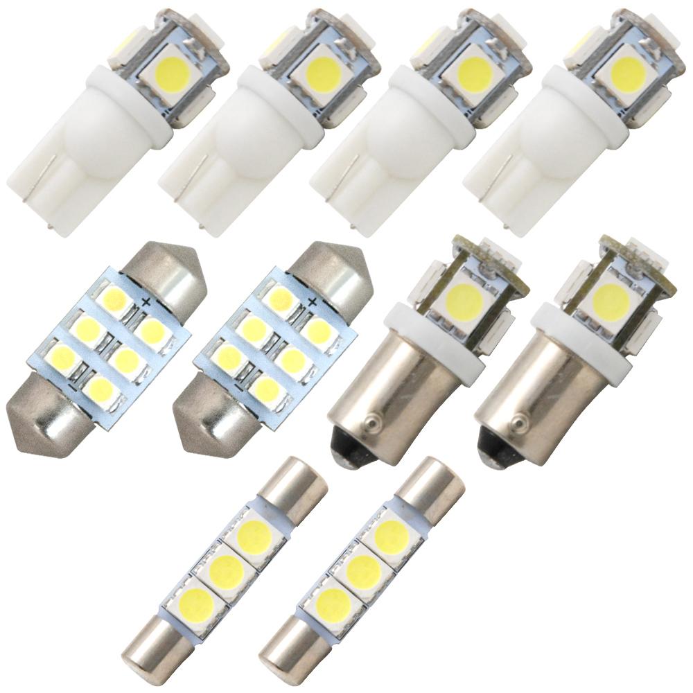 交換だけの簡単取付 ホワイト発光で車内を明るく照らす セットアップ LED お得セット SMD ルームランプセット 簡単 交換 ランドクルーザープラド 10点セット 120系 極LEDルームランプ H14.10-H21.8 純正球交換型 ランクル