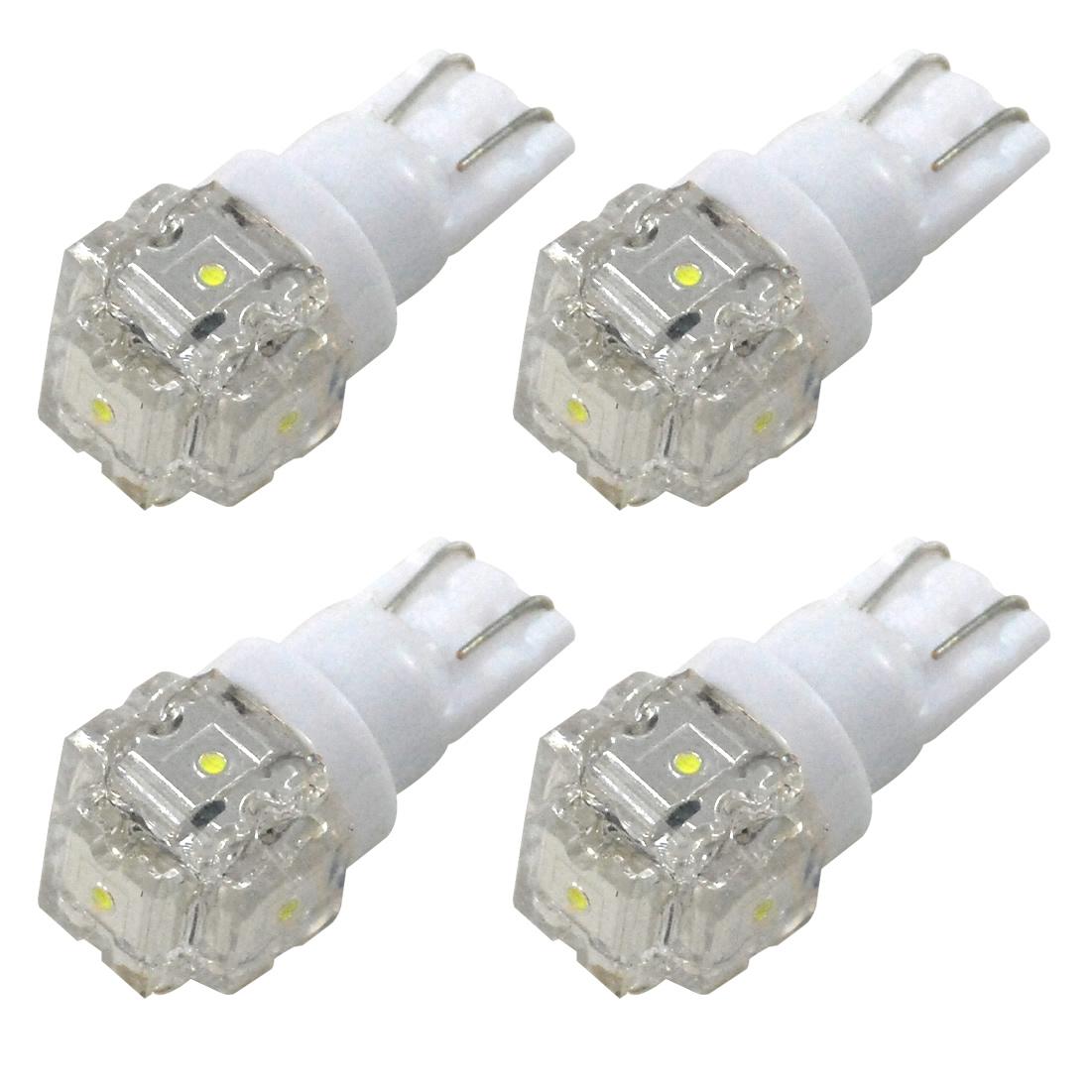 FLUX LED5連×4 合計20連ウェッジ球!車幅灯 クリアランスランプ フロント バック ライセンスランプ 白 RIDE LED T10 ポジション球ナンバー灯 4個 ホワイト