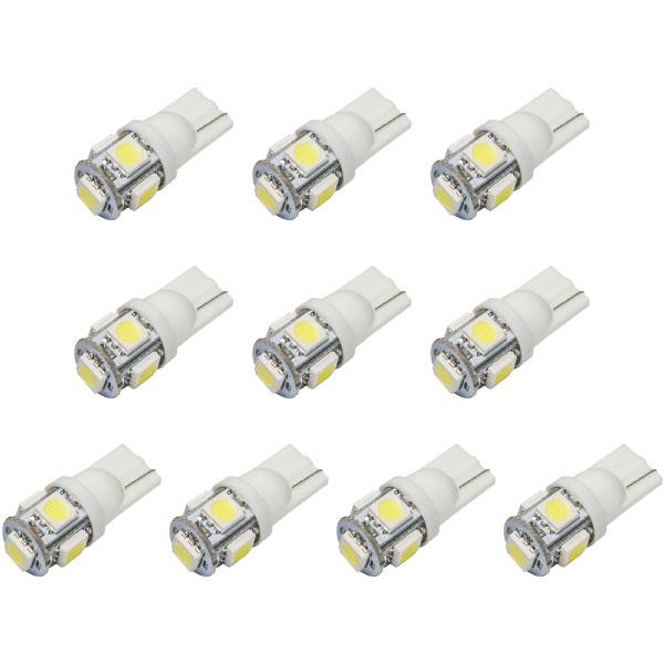 10個セットでお得 さらに送料無料でお届け 送料無料 秀逸 T10 LEDウェッジ球 10個セット 倉庫 12V車 ホワイト SMD5連 12V LED ウェッジ球