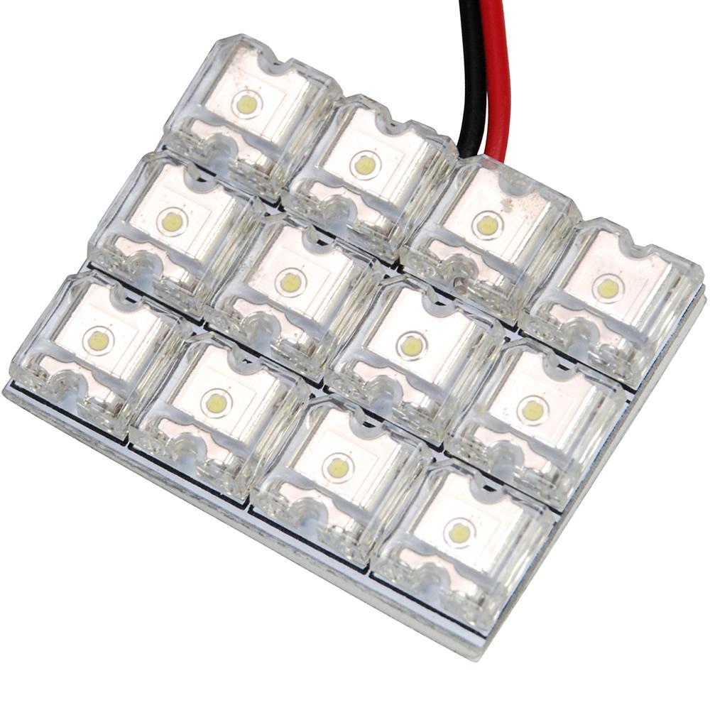 ポイント消化にもオススメ LED 簡単取付 交換 ルームランプ 高級品 ホワイト 12V 3×4 FLUX12連 基板 国内正規品