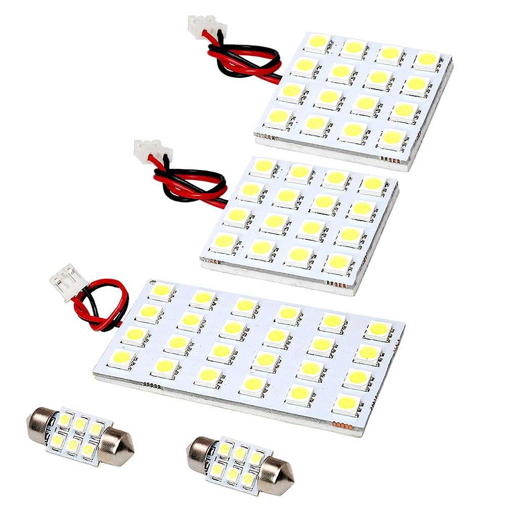 簡単取付 白光LEDで車内をドレスアップ LEDルームランプ 3チップ 3chip SMD 総発光数204発 エクストレイル 5点セット H19.8-H20.8 初売り 鬼爆閃光 T31 定番 サンルーフ無し車
