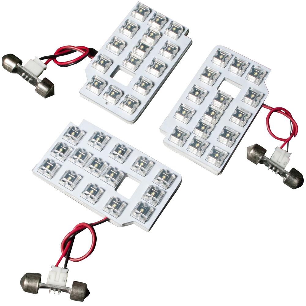 交換だけの簡単取付 LEDで車内を明るく照らす LED ルームランプセット 車内灯 簡単 RIDER1400 激安 激安特価 送料無料 初売り 専用基板 ハイエース 4型 200系 6型 3点 5型 H25.12- RIDE DX標準 45発 LEDルームランプ