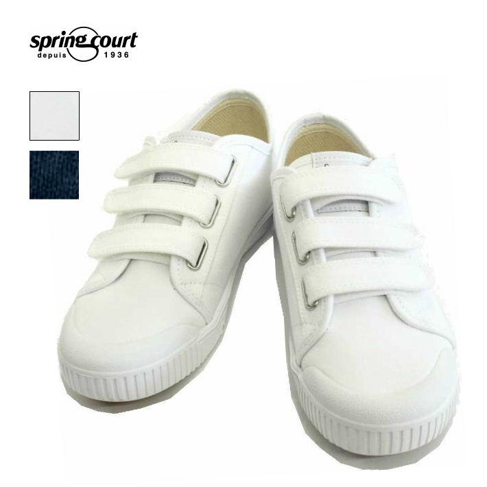 スプリングコート G2 ローカット ベルクロ キャンバススニーカー ネイビー ホワイト 白 レディース メンズ spring court G2 WHITE NAVY