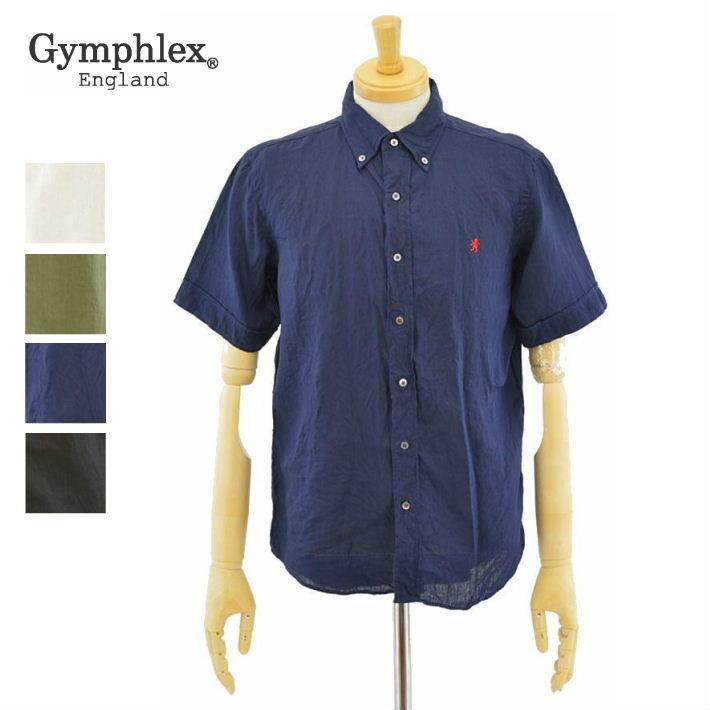 ジムフレックス J-0937KLS 4color 半袖 リネンクロス ボタンダウン シャツ Gymphlex LINEN CLOTH