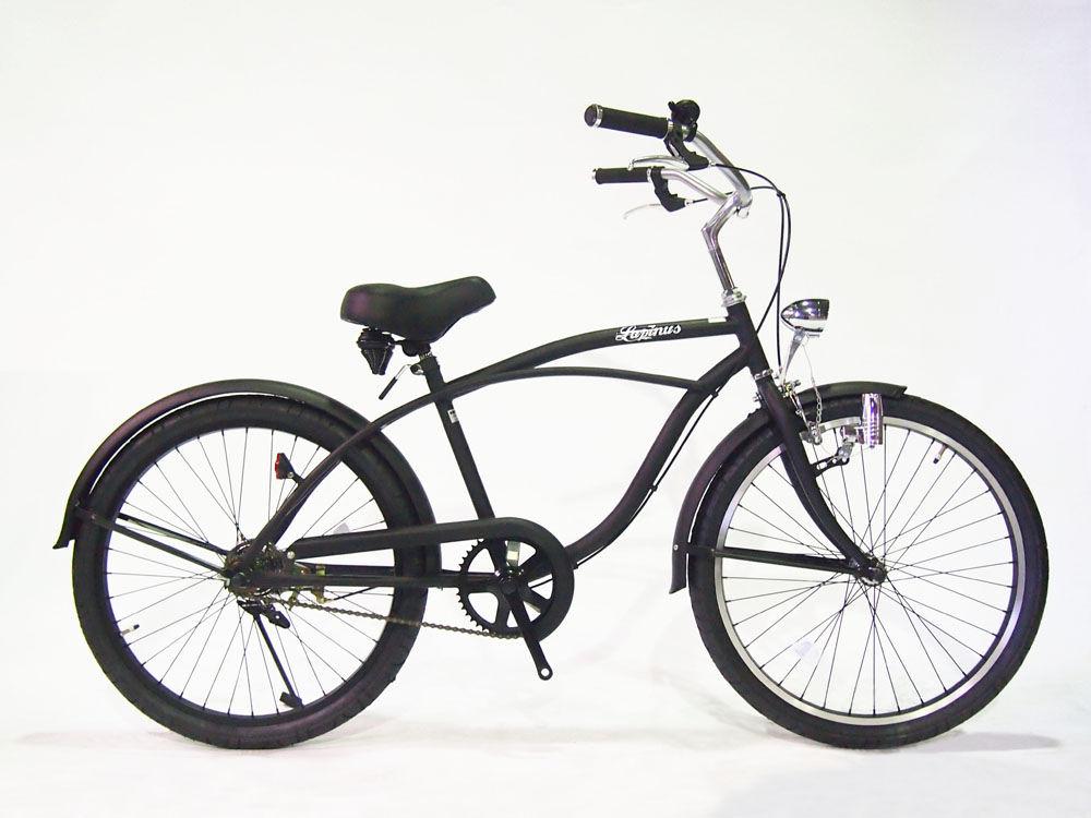 【送料無料】【この商品ページは東京・神奈川へのお届け限定です。】ビーチクルーザー 24インチ 自転車 Lupinus ルピナス 24BC 砲弾ライト アメリカンスタイル ワイドハンドル LP-24NBD-ALL