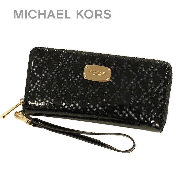 d0c6f374adeb Michael Kors MICHAEL KORS wallets purse shopping bag 35S6MJSZ7Z BLACK black  passport holds MK SIGNATURE leather ...