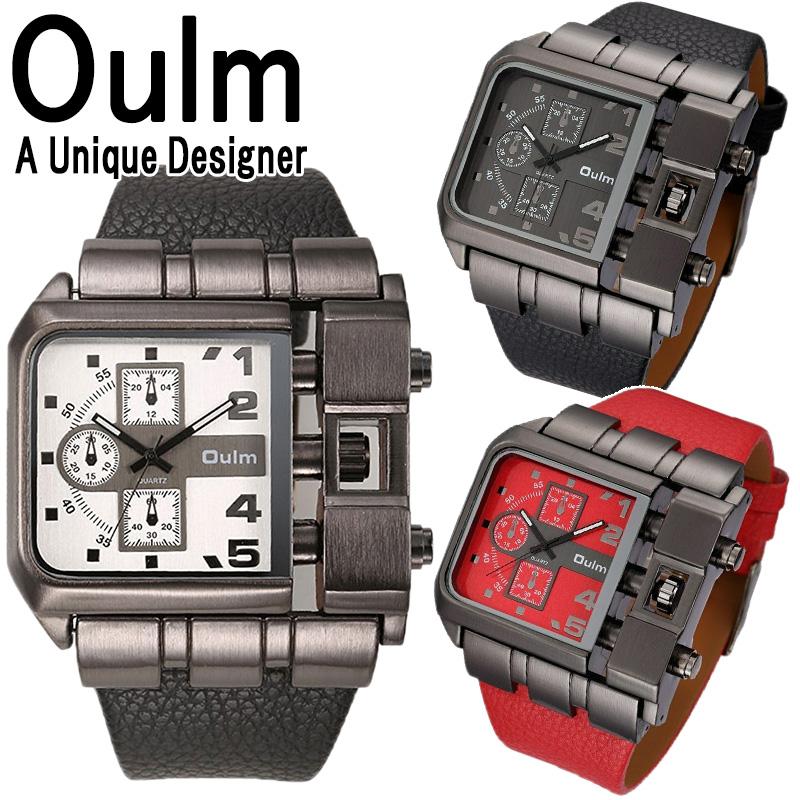 送料無料 Oulm 腕時計 メンズ 防水 留学生 スクエアフェイス 日本製ムーブメント ビッグフェイス フルステンレス ステンレス デュアルタイム ダブルタイム タイムゾーン クオーツ ブラック メイドインジャパン ムーブメント 世界時計 オウルム