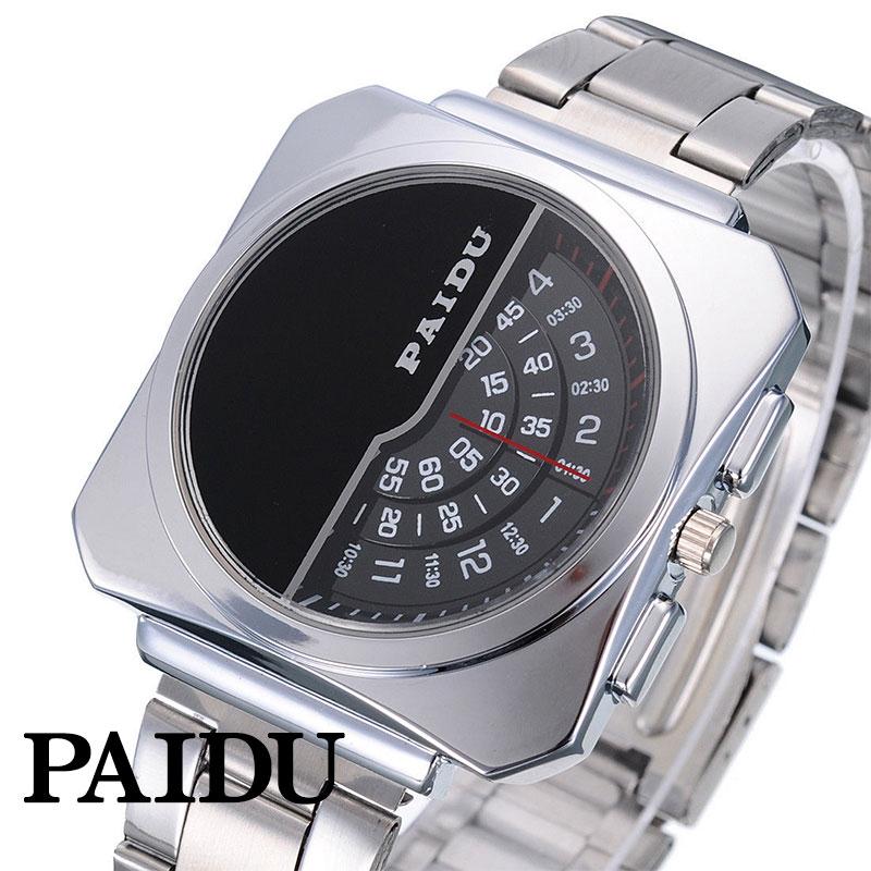 カジュアルスタイルからパーティーまで使えるデザインウォッチ PAIDU 日本製ムーブメント 腕時計 評価 ステンレススティール シルバー 安心の定価販売 メイドインジャパン クオーツ ムーブメント