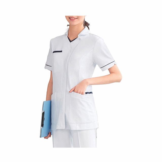 ミニ衿 配色できりっと可愛く首元すっきりなジャケット 新登場 値引き パウダーストレッチ オープンミニ衿ジャケット医療 ナース 看護 infirmiere 介護 白衣 ジャケット 女性 アンファミエ