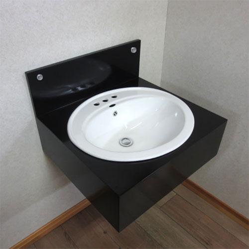 洗面化粧台(洗面台・化粧台・3つ穴陶器ボウル付属) 黒 W600×D550×H400 INK-0504030H-INK-0401019H