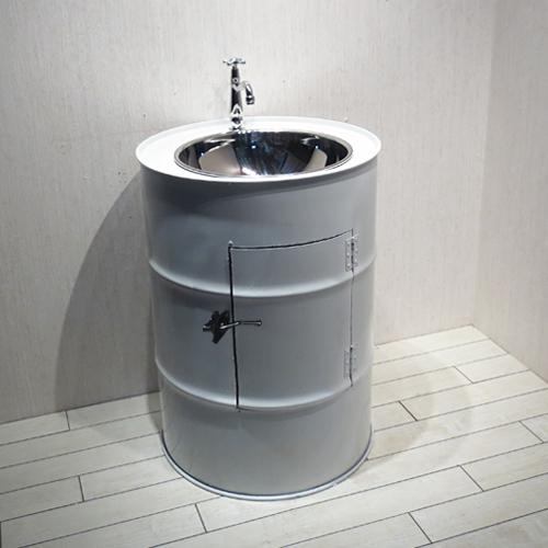 洗面台セット お得 ドラム缶 白・ホワイト W580×D580×H800 | 【SMP-9】