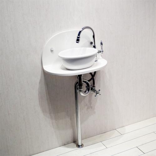 洗面台セット お得 壁付け 陶器 白・ホワイト W450×D250 | 【MIN-35】