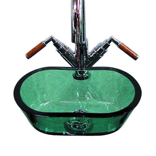小さいガラス洗面ボール290mm楕円タイプ グリーン(洗面ボウル・洗面台・小型・省スペース・トイレ用)