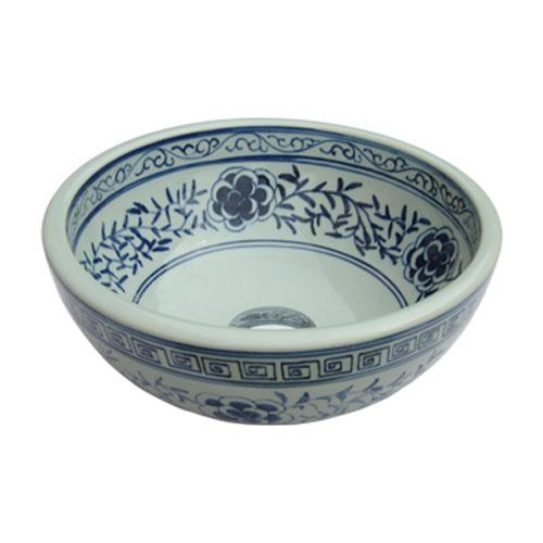 洗面ボウル 陶器 和柄 手洗い鉢 置き型 オーバーフロー無し W330×D330×H150 | 品番INK-0403039H
