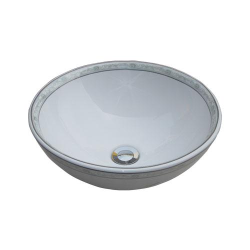 陶器洗面ボウル(手洗い鉢・ボール・オンカウンターシンク・絵・柄) W400×D400×H155 INK-0403109H